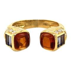 Salavetti 18 Karat Yellow Gold Citrine Iolite and Diamond Cuff Ring