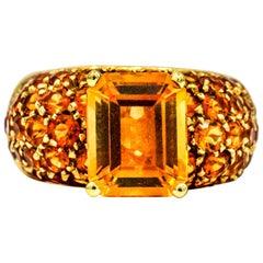 Salavetti 18 Karat Yellow Gold Imperial Citrine Cocktail Ring