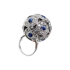 Salavetti Brilliant 18 Karat White Gold Diamond Sapphire Ball Ring