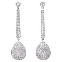 Salavetti Diamond & 18k White Gold Pendant Earrings