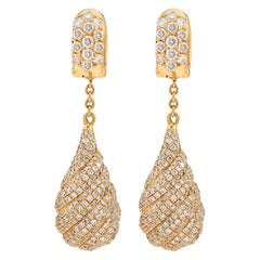 Salavetti Diamond and 18 Karat Gold Earrings