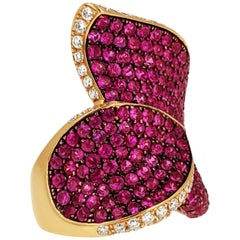 Salavetti Diamond, Pink Sapphire and 18k Gold Cocktail Ring