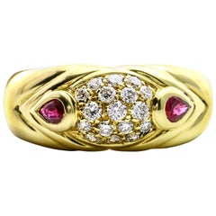 Salavetti Diamond Ruby Band Ring in 18 Karat Yellow Gold