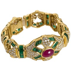Salavetti Italy Ruby Diamond Emerald Link Bracelet