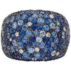 Salavetti Sapphire and Diamond Pave Ring