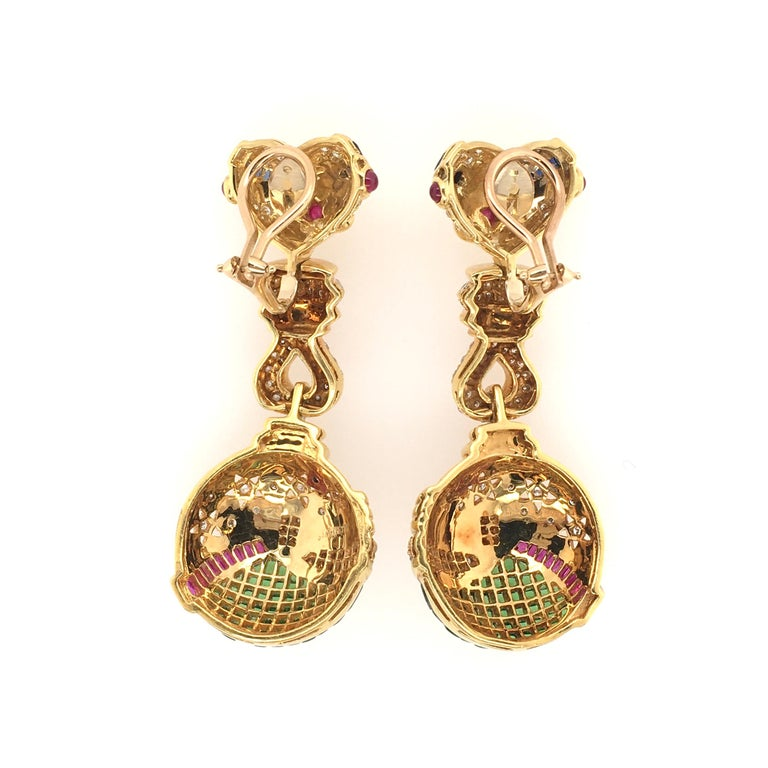 Salavetti Tsavorite Garnet, Ruby, Sapphire, Diamond and Gold Earrings In Excellent Condition For Sale In New York, NY