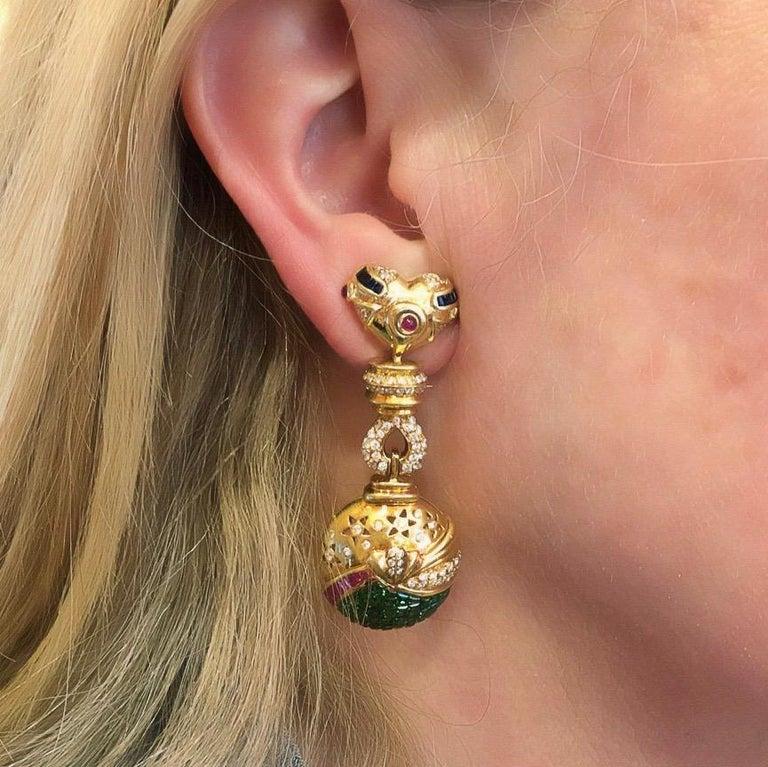 Women's or Men's Salavetti Tsavorite Garnet, Ruby, Sapphire, Diamond and Gold Earrings For Sale