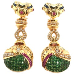 Salavetti Tsavorite Garnet, Ruby, Sapphire, Diamond and Gold Earrings