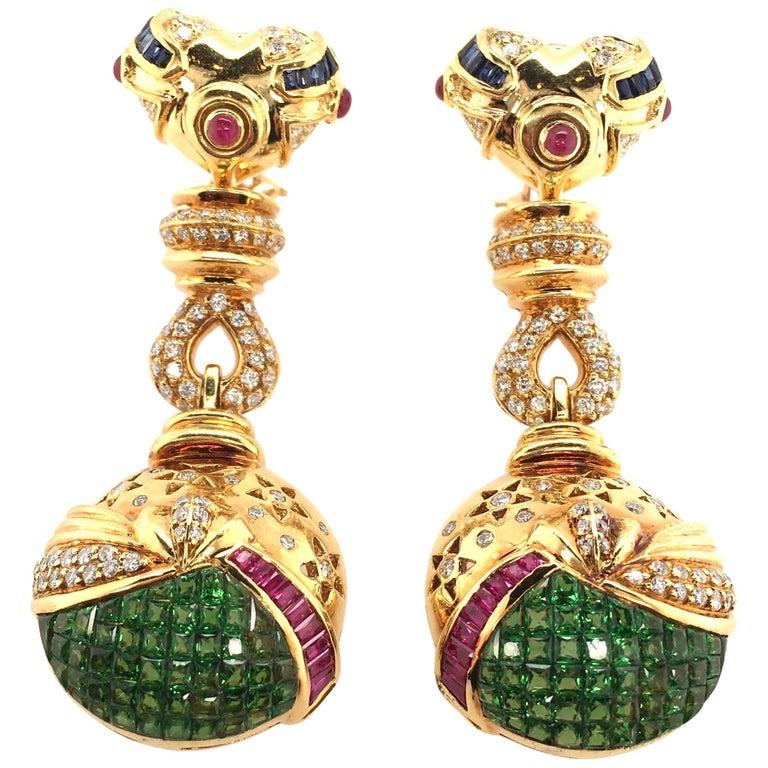 Salavetti Tsavorite Garnet, Ruby, Sapphire, Diamond and Gold Earrings For Sale