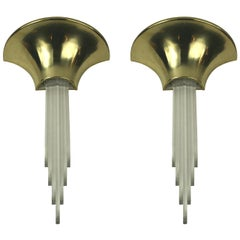 Mid Century  Karl Springer  Style  Brass and acrylic sconces (2 pair available)