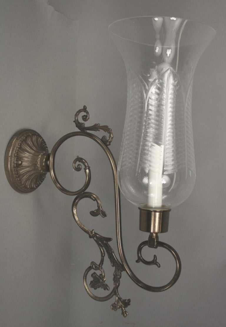 Brass Italian Scrolled-Arm Hurricane Sconces Circa 1940's For Sale