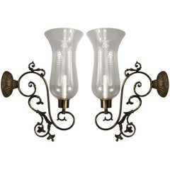Italian Scrolled-Arm Hurricane Sconces Circa 1940's