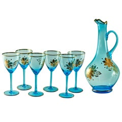 SALE! Beyond Beautiful Greece Import Mediterranean Sea Blue Decanter Glassware