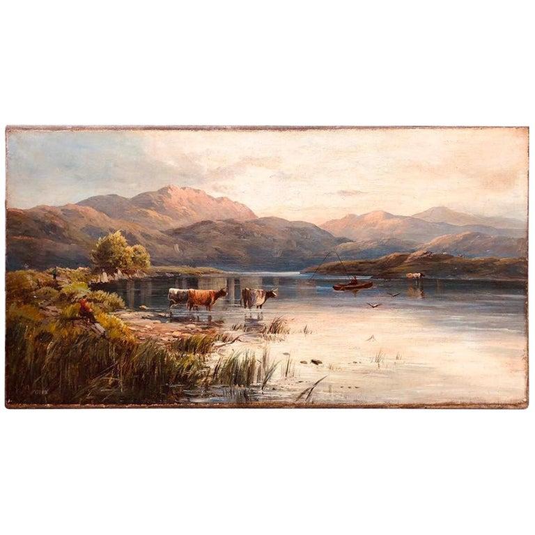 "SALE Oil on Canvas ""Landscape with Cows"" Painting, Eliza Pratt Greatorex, 1863 For Sale"
