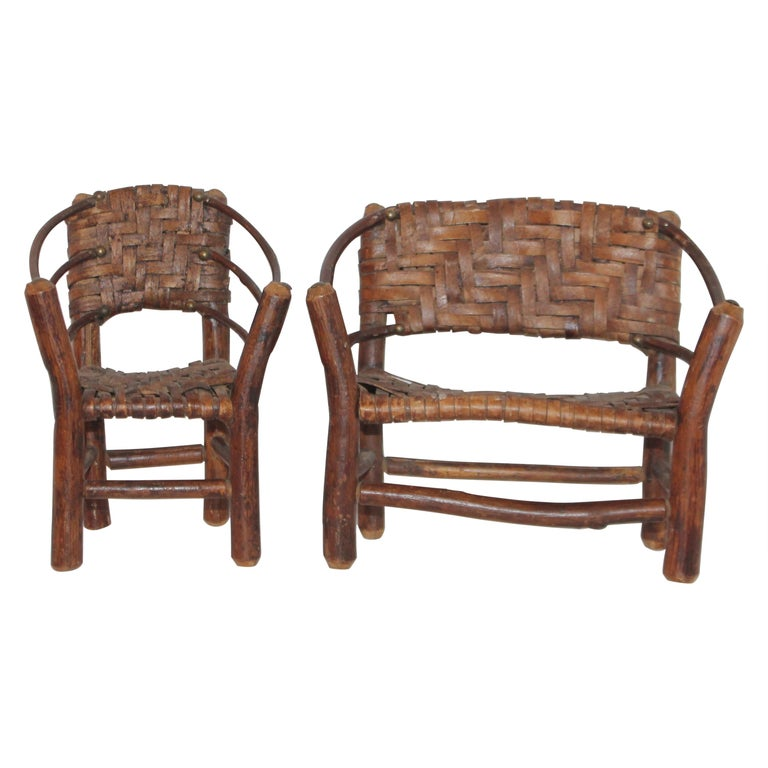 Salesman Sample Old Hickory Settee and Chair For Sale