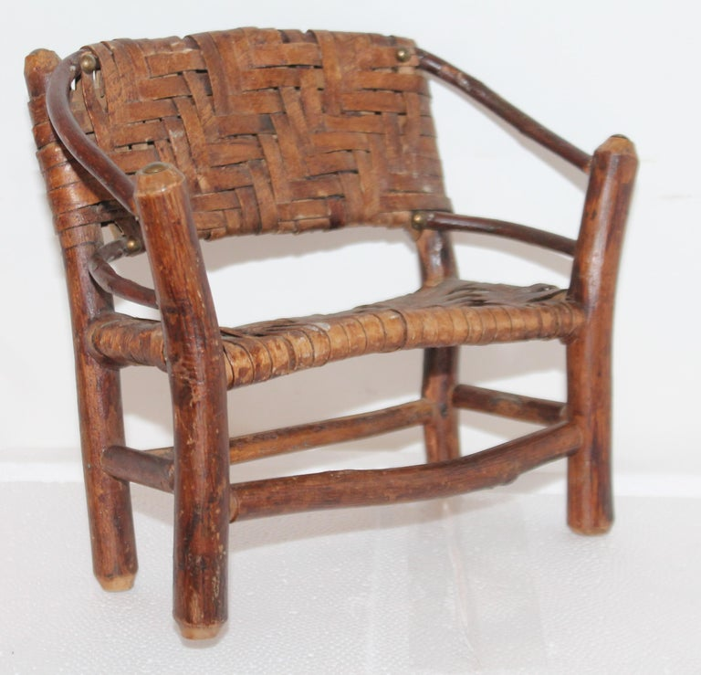 Folk Art Salesman Sample Old Hickory Settee and Chair For Sale