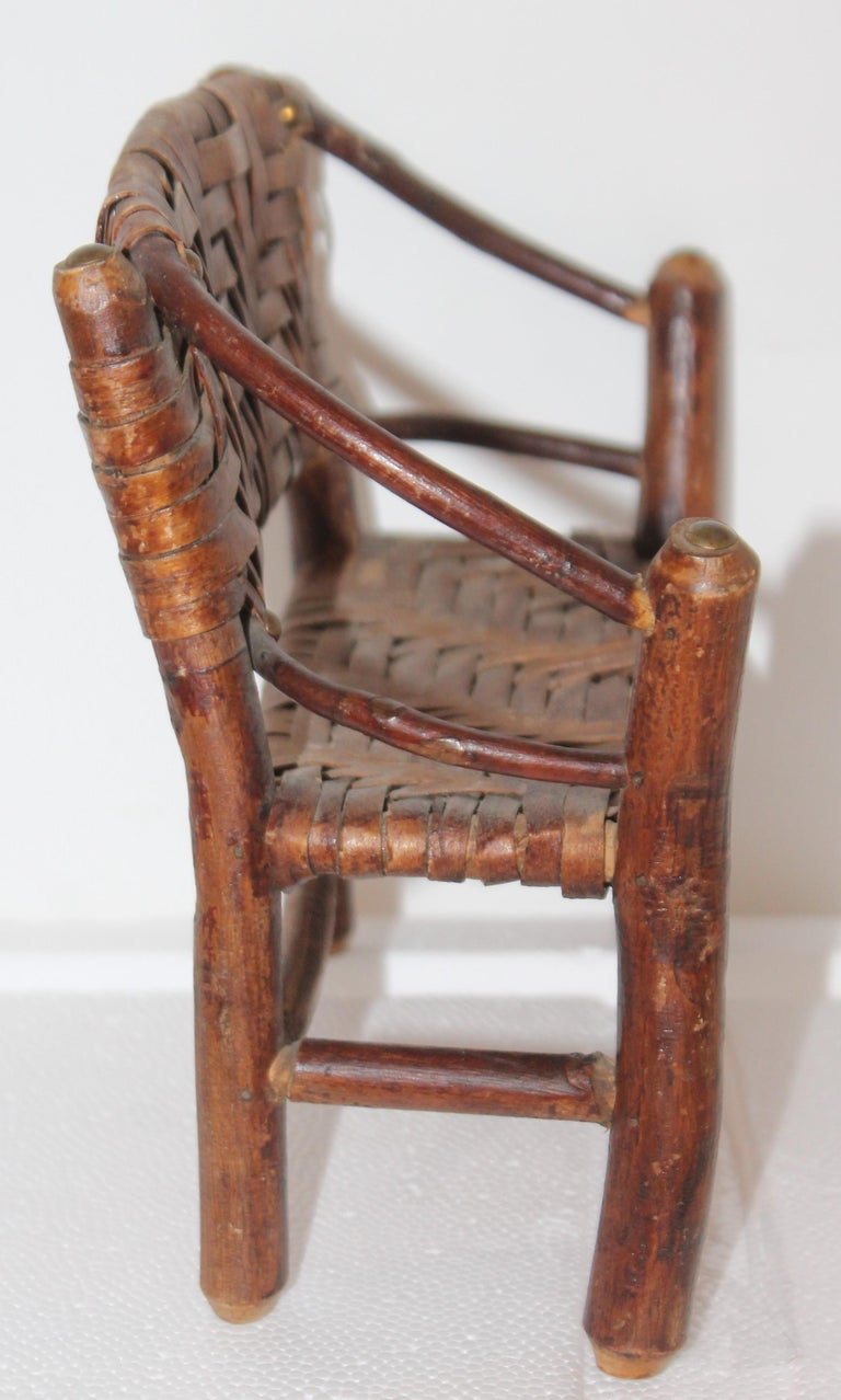 Hand-Crafted Salesman Sample Old Hickory Settee and Chair For Sale