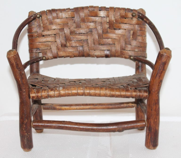 Early 20th Century Salesman Sample Old Hickory Settee and Chair For Sale