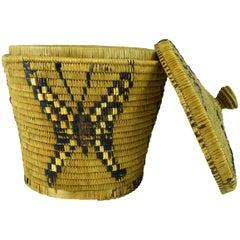 Salish Native Lidded Basket