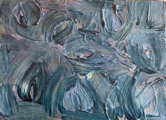 SALLY BRADSHAW (b.1962) CONTEMPORARY ABSTRACT BRITISH PAINTING - ELEGANT BLUES
