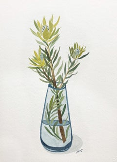 Chartreuse Leucadendron in Blue Glass