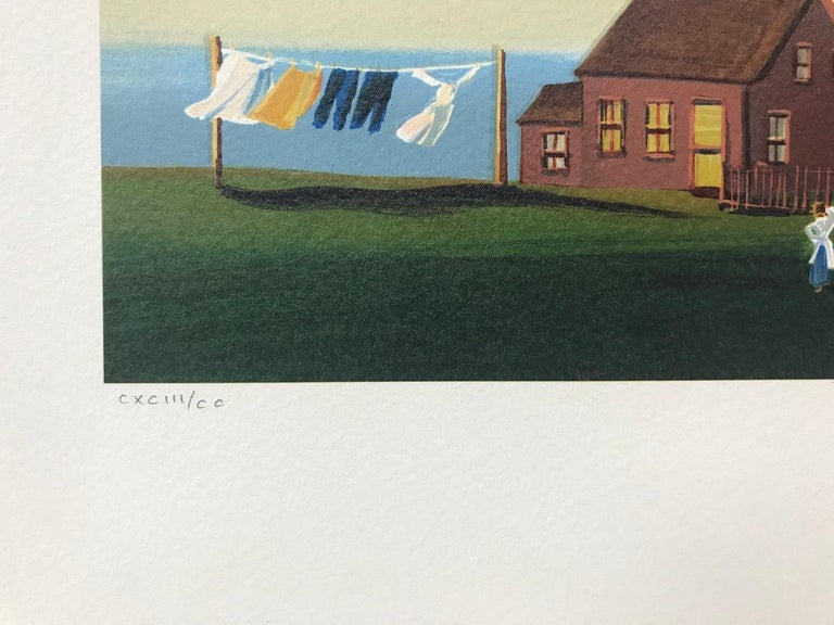 DAILY CHORES Signed Lithograph, New England Summer, Ocean View Lighthouse - Contemporary Print by Sally Caldwell-Fisher