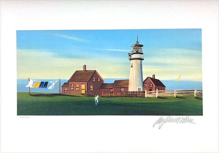 Sally Caldwell-Fisher Landscape Print - DAILY CHORES Signed Lithograph, New England Summer, Ocean View Lighthouse