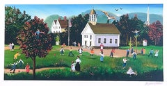 RECESS Signed Lithograph, New England Schoolhouse, Children, Teacher, Playground