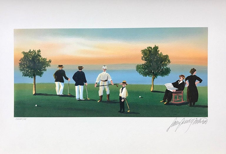 RUSTICATORS AT THE CLOSE OF DAY Signed Lithograph, New England Golfers, Sunset - Print by Sally Caldwell-Fisher