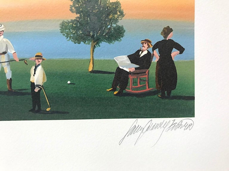 RUSTICATORS AT THE CLOSE OF DAY Signed Lithograph, New England Golfers, Sunset - Gray Figurative Print by Sally Caldwell-Fisher