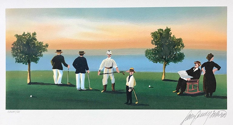 Sally Caldwell-Fisher Figurative Print - RUSTICATORS AT THE CLOSE OF DAY Signed Lithograph, New England Golfers, Sunset