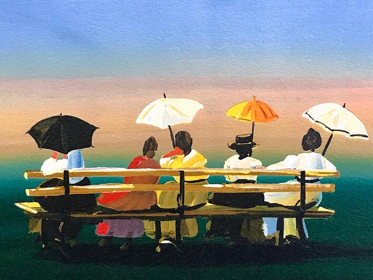 RUSTICATORS WATCHING THE SUNSET Signed Lithograph, New England Ladies w Parasols - Print by Sally Caldwell-Fisher