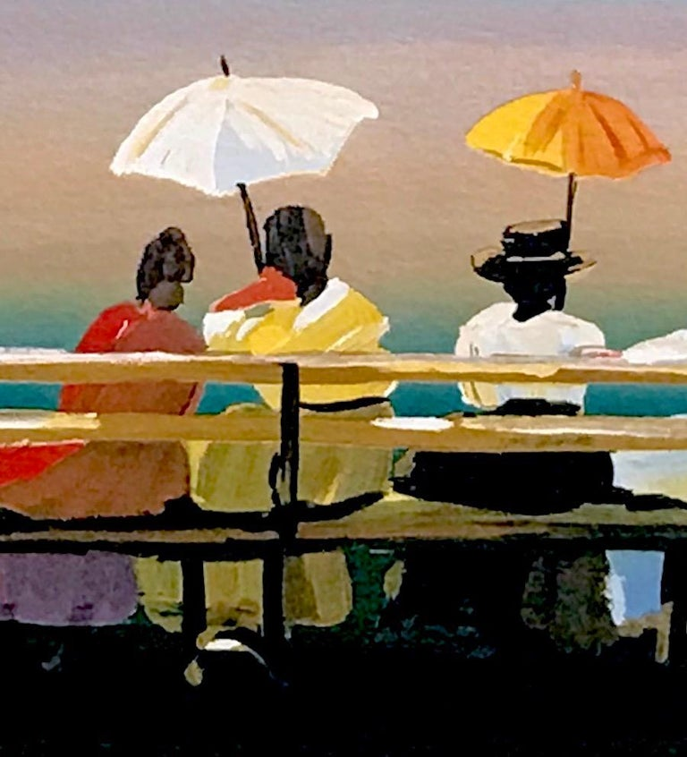 RUSTICATORS WATCHING THE SUNSET Signed Lithograph, New England Ladies w Parasols - Contemporary Print by Sally Caldwell-Fisher