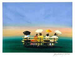 RUSTICATORS WATCHING THE SUNSET Signed Lithograph, New England Ladies w Parasols