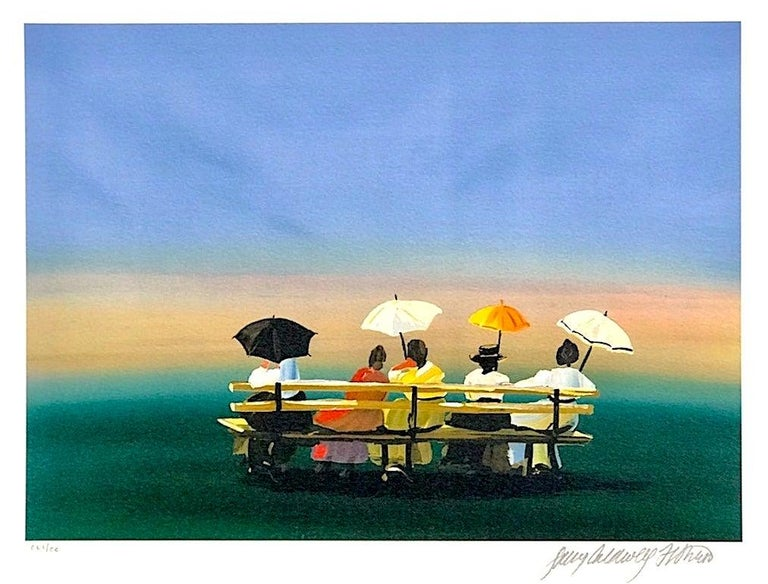 Sally Caldwell-Fisher Landscape Print - RUSTICATORS WATCHING THE SUNSET Signed Lithograph, New England Ladies w Parasols