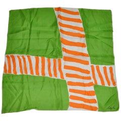 "Sally Gee Neon Green & Tangerine ""Candy Cane"" Silk Scarf"