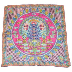 "Sally Gee Whimsically Colorful ""Asian Theme"" Silk Scarf"
