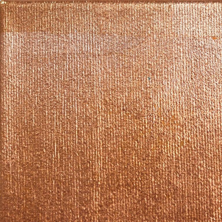 Monica - Original Copper Sally K Artwork - Beige Portrait Painting by Sally K
