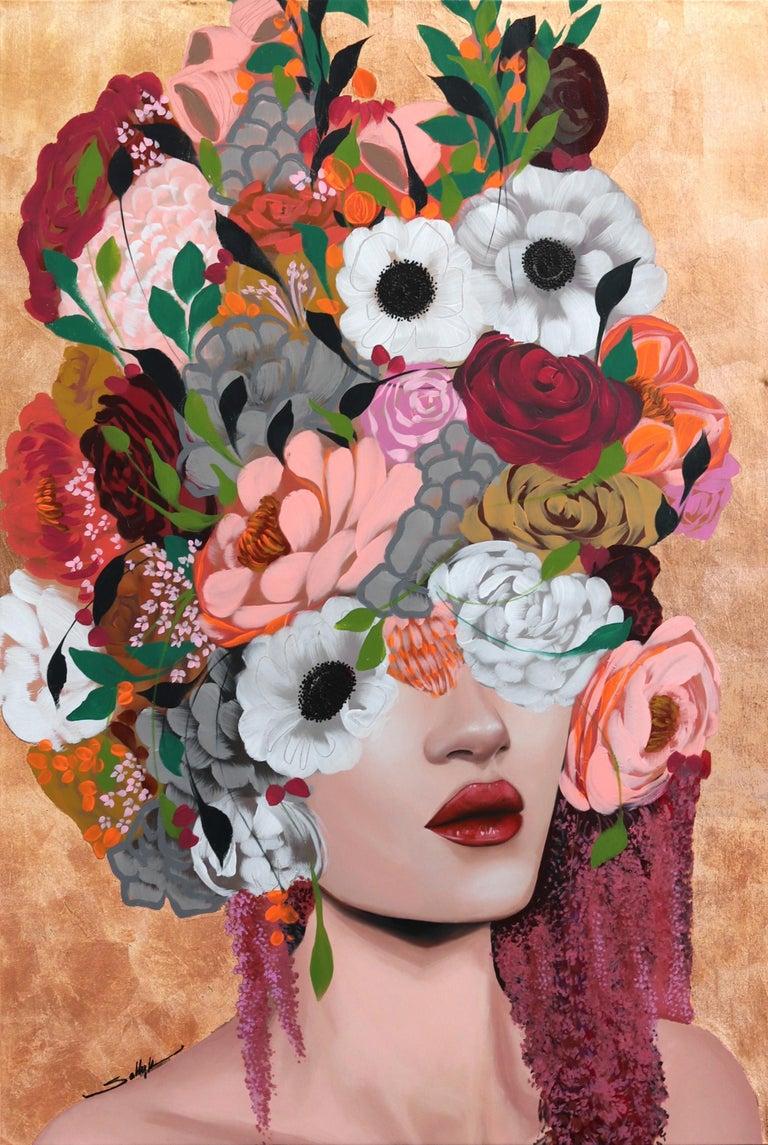 Monica - Original Copper Sally K Artwork - Painting by Sally K