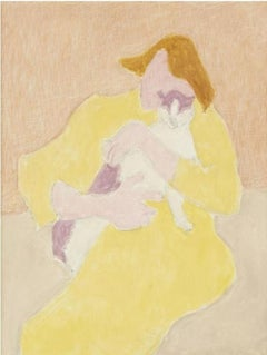 """Best Friend,"" Sally Michel Avery, American Modernist Art, Woman with Cat"