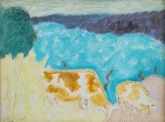 """Bucolic Landscape,"" Sally Michel Avery, Female American Modernist Bright Pastel"