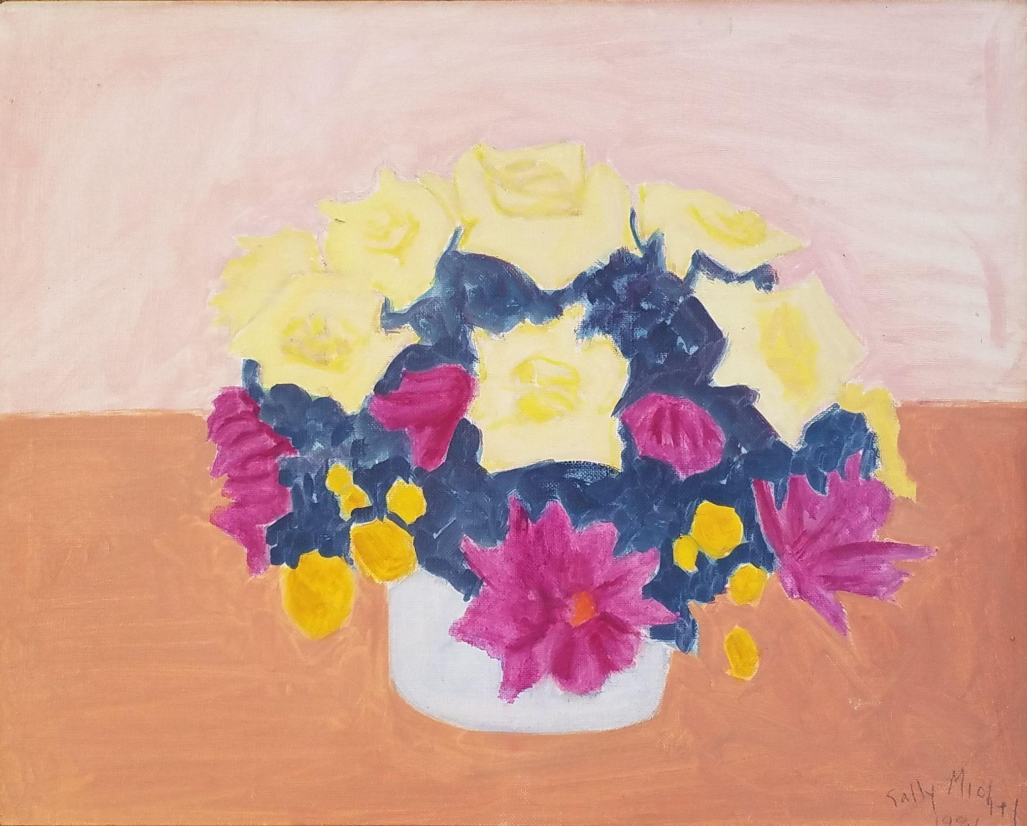 """Floral Still Life,"" Sally Michel Avery, Female American Modernist Bright Pastel"