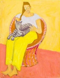 """Lady with Cat"" Figurative Female with Kitten, American Modernism"