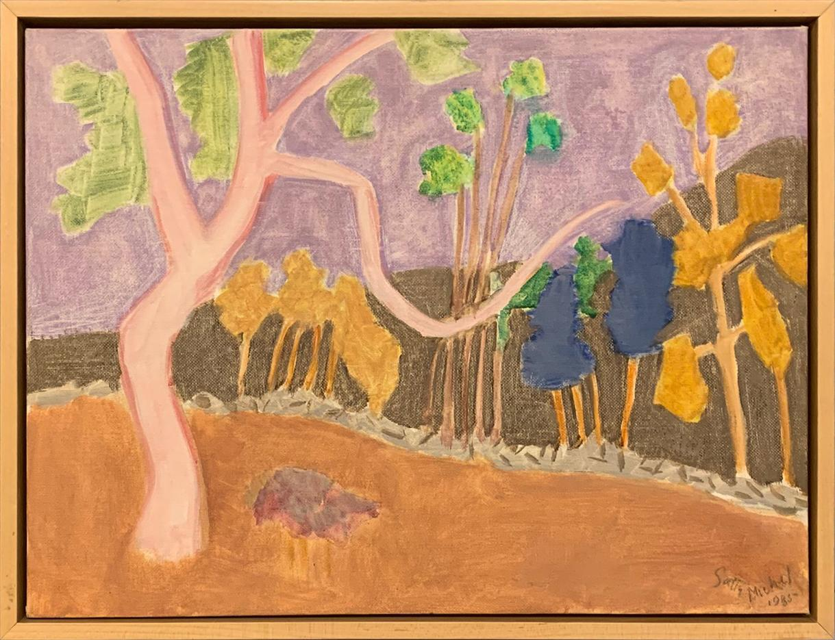 """""""Various Trees"""" by Sally Michel Avery, Oil on canvas board, 1985"""