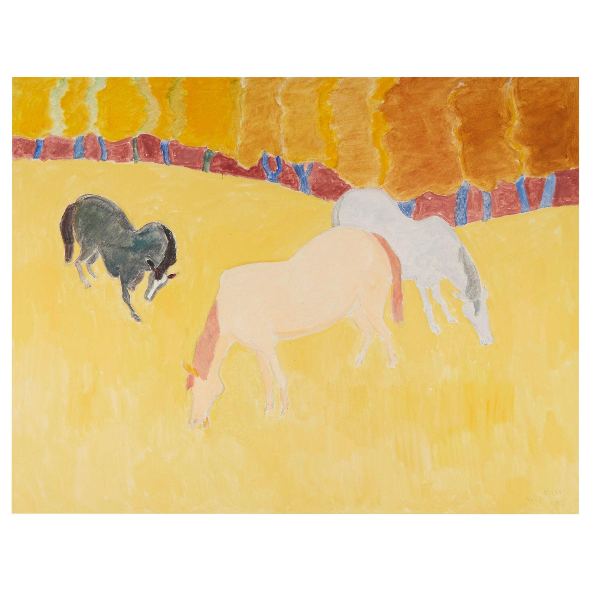 """Sally Michel Avery Signed Oil on Canvas """"Grazing Horses"""", 1989"""