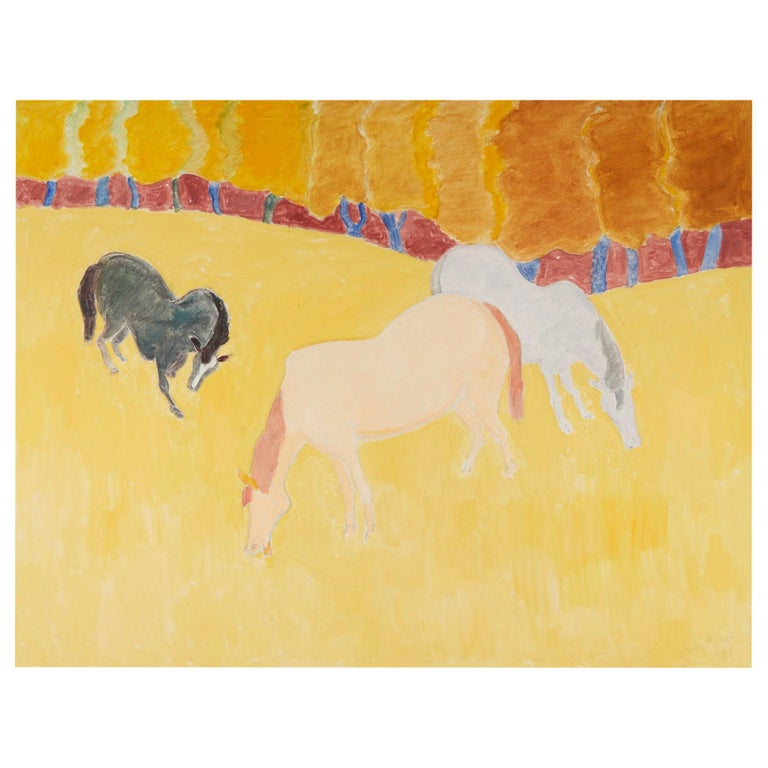 """Sally Michel Avery Signed Oil on Canvas """"Grazing Horses"""", 1989 For Sale"""