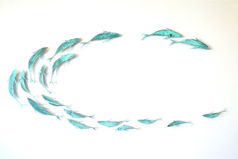 """Sally Smith Figurative Sculpture - """"Shoaling #4"""" Sculptural wall installation of a school of fish"""
