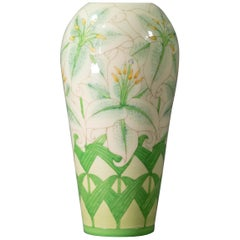 Sally Tuffin for Dennis Chinaworks - Vase 'Lilly on White Ovoid'