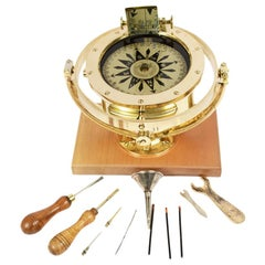 Salmoiraghi Compass Made of Brass in the Early 1900s on Wooden Base
