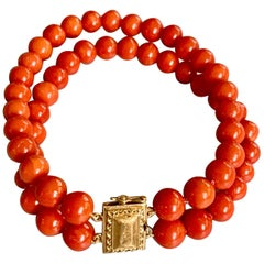 Salmon Coral Bead Double Strand Long Bracelet